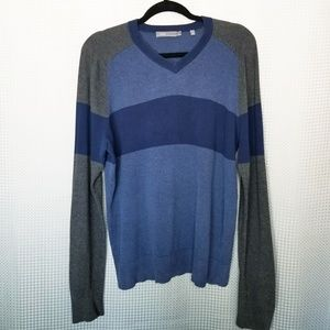 Vince Colorblock Blue Cotton V-Neck Sweater